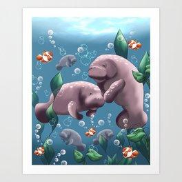 Manatee & Baby Art Print