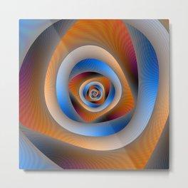 Spiral Labyrinth in Orange and Blue Metal Print