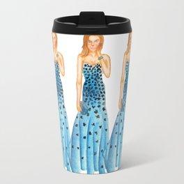 Karlie in Strapless Blue Mermaid Gown Travel Mug