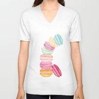 macarons V-neck T-shirts featuring MACARONS & STARS  by Monika Strigel