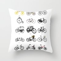 bicycles Throw Pillows featuring Bicycles by MuDesignbyMugeBaris