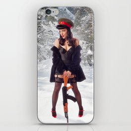 """Sovietsky on Ice"" - The Playful Pinup - Russian Theme Pin-up Girl in Snow by Maxwell H. Johnson iPhone Skin"