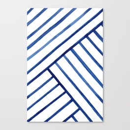 Watercolor lines pattern | Navy blue Canvas Print