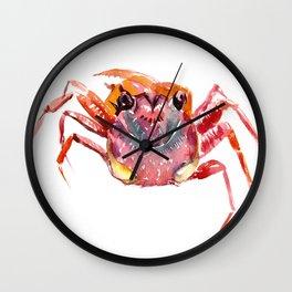 Crab, red pink orange kitchen artwork design Wall Clock