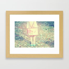 Travel Vintage Girl  Framed Art Print