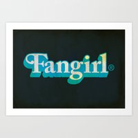 fangirl Art Prints featuring Fangirl by Aaron Synaptyx Fimister