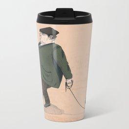 A Man with a Dog Metal Travel Mug