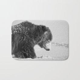 Alaskan Grizzly Bear in Snow, B & W - I Bath Mat