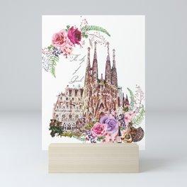 Barcelona Spain La Sagrada Familia Vintage Mini Art Print