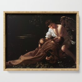 Saint Francis of Assisi in Ecstasy by Caravaggio (1595) Serving Tray