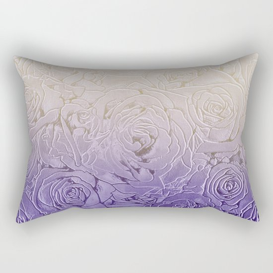 cream roses with purple shade Rectangular Pillow