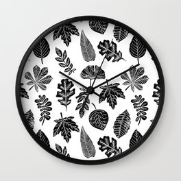 Linocut leaves fall autumn lino printmaking black and white decor art print trendy leaf pattern Wall Clock