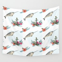 Summertime Nautical Narwhal Wall Tapestry