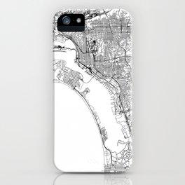 San Diego White Map iPhone Case