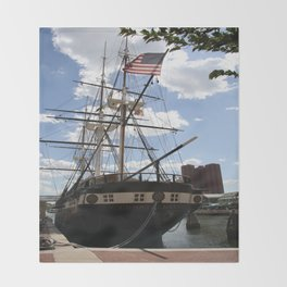 Old Glory - USS Constellation Throw Blanket