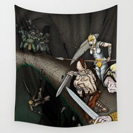 Party Crossing the Stone Bridge Wall Tapestry