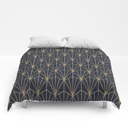 Art Deco Vector in Blue and Gold Comforters