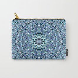Light Blue Floral Life Mandala Carry-All Pouch