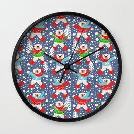 Dancing Polar Bears snow days Wall Clock