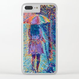 Girl with Rainbow Umbrella - figurative palette knife city landscape Valentines by Adriana Dziuba Clear iPhone Case