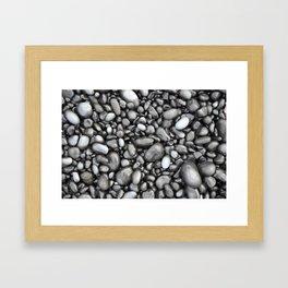 Black lava pebbles Framed Art Print