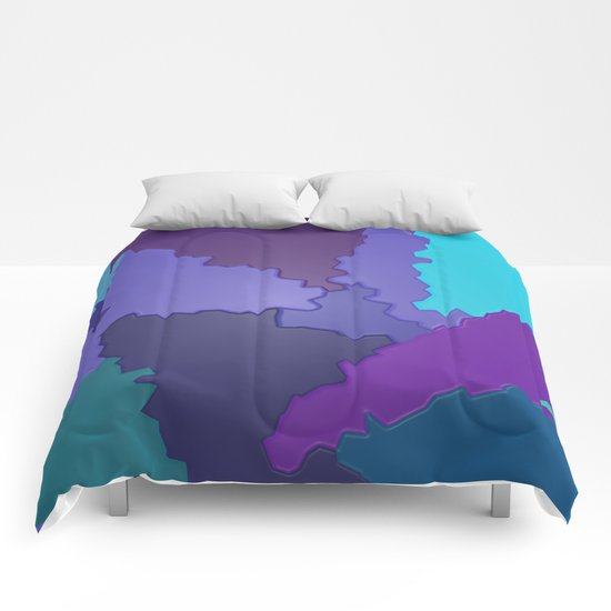 Blues and Purples Puzzle Patchwork Comforters