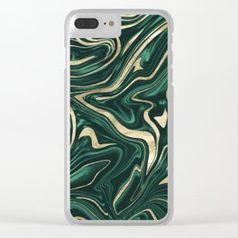 Emerald Green Black Gold Marble #1 #decor #art #society6 Clear iPhone Case