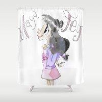 ramen Shower Curtains featuring Burger Ramen Princess! by Trillatia
