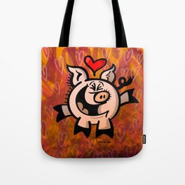 Pig Falling Head over Heels in Love Tote Bag