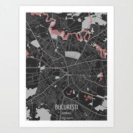 Bucarest City Map Art Print
