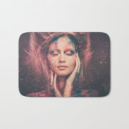 Young woman muse with creative body art and hairdo (1) Bath Mat