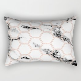 black and white marble with rose gold hexagons Rectangular Pillow