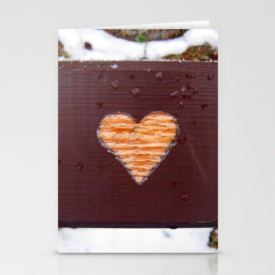wooden heart. Stationery Cards