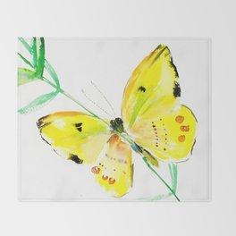 Yellow Butterfly, children butterfly decor kids room, girls room yellow decor butterfly art Throw Blanket