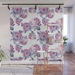 Lilacs watercolor roses Wall Mural