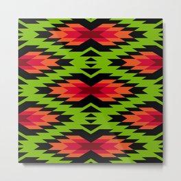 Tribal pattern - green Metal Print