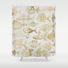 Gold-Inked Fish Shower Curtain