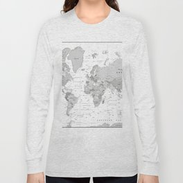 World Map [Black and White] Long Sleeve T-shirt