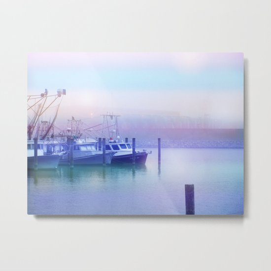 Moored Boats In the Early Morning Fog Metal Print