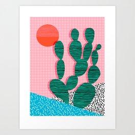 'Sup - cactus throwback retro memphis style neon art print 80s 1980s pop art desert socal palm Art Print