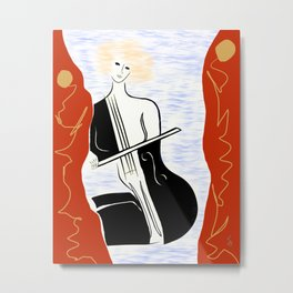 Woman with Cello ver. 02 Metal Print