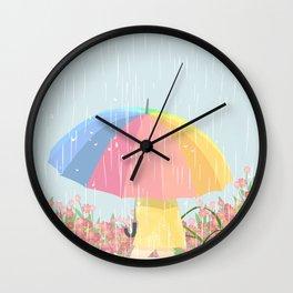 Girl Walking In Rain Day Wall Clock