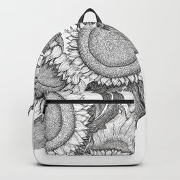 Sunflowers Black and White Ink Drawing Backpack