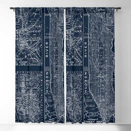 Vintage New York City Street Map Blackout Curtain
