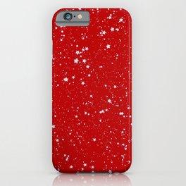 Glitter Stars - Silver Red iPhone Case