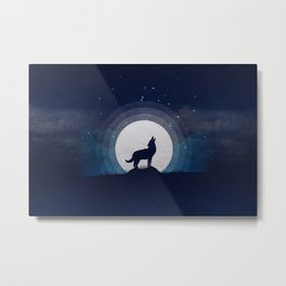Wolf and moon Metal Print