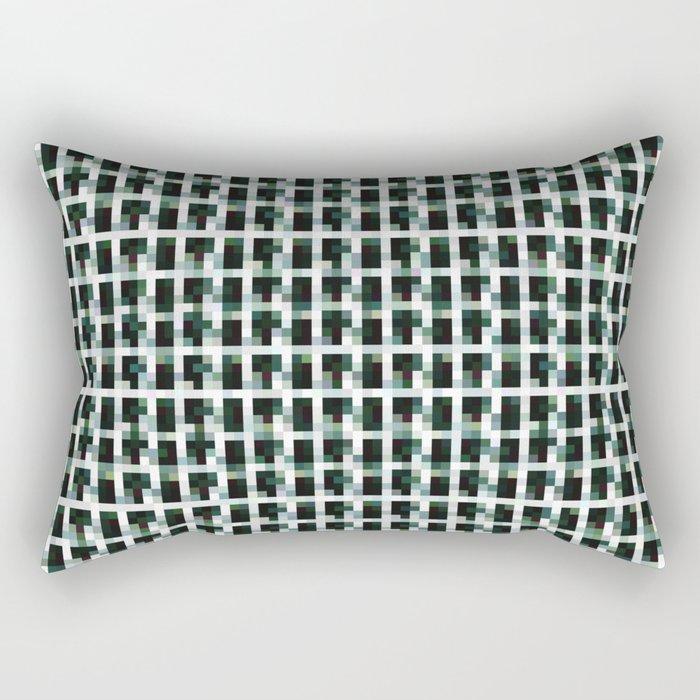 Black And Khaki Pixelated Pattern Rectangular Pillow