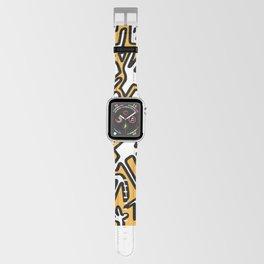 black doodle on orange Apple Watch Band