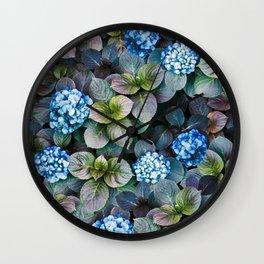 Blue Hydrangeas Floral Pattern Wall Clock