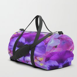 PURPLE PANSIES & BLUE & PINK HYDRANGEAS GARDEN Duffle Bag